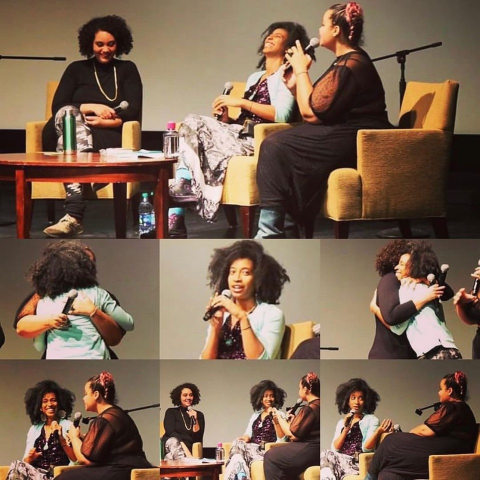 A photo collage of Autumn Brown, adrienne maree brown, and Alexis Pauline Gumbs on stage at the live podcast. They are smiling, laughing, and hugging in the various photos.